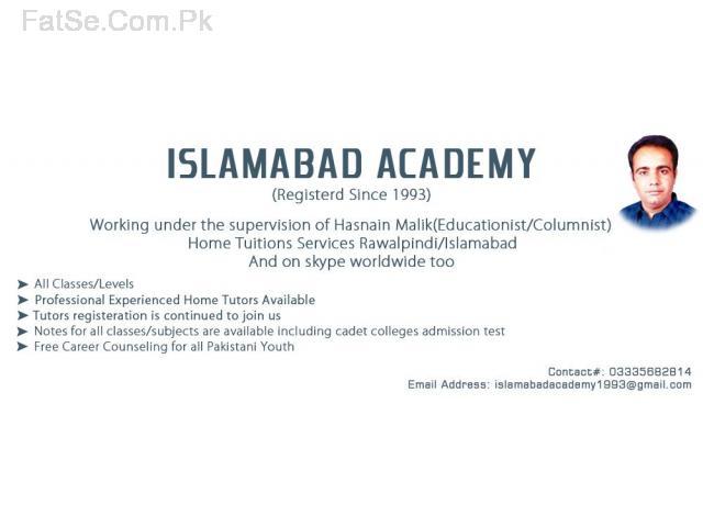 1. Oldest Islamabad Academy Home Tuition services Rawal Pindi Islamabad & on skype worldwide
