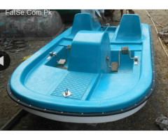 blue and white paddle boat