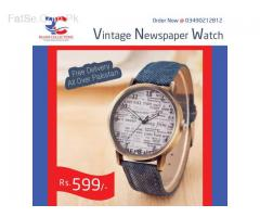 Vintage Denim Newspaper Watch